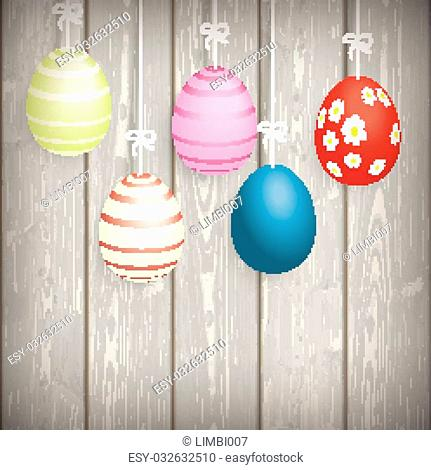 5 easter eggs on the wooden background