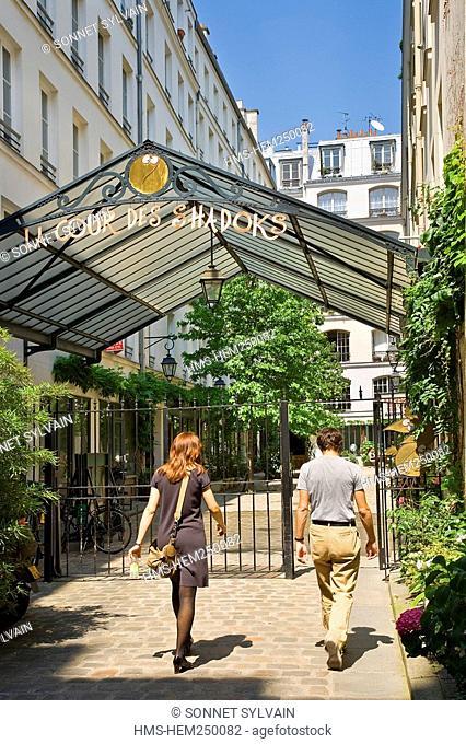 France, Paris, Faubourg Saint Antoine District, near Place de la Bastille, Cour des Shadoks Shadoks Courtyard name tribute to their designer Jacques Rouxel