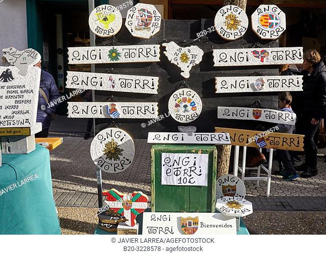 Typical Basque crafts, folklore fair of Santo Tomas, Donostia, San Sebastian, Gipuzkoa, Basque Country, Spain, Europe