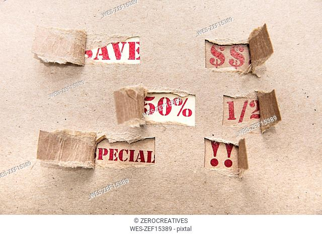 Sale, brown paper, special, save, 50 percent, US-Dollar