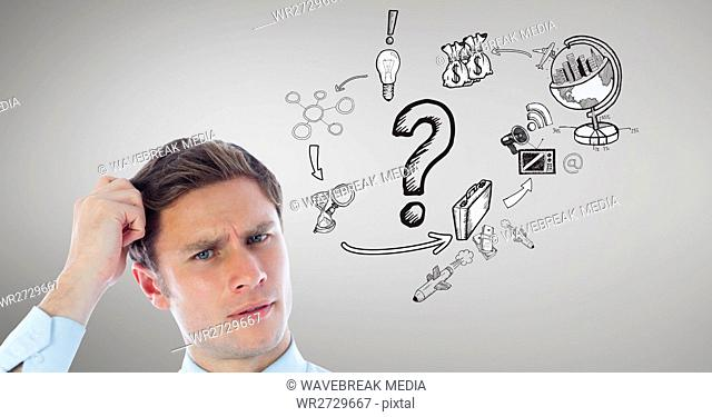 Confused man with various graphic icons in background