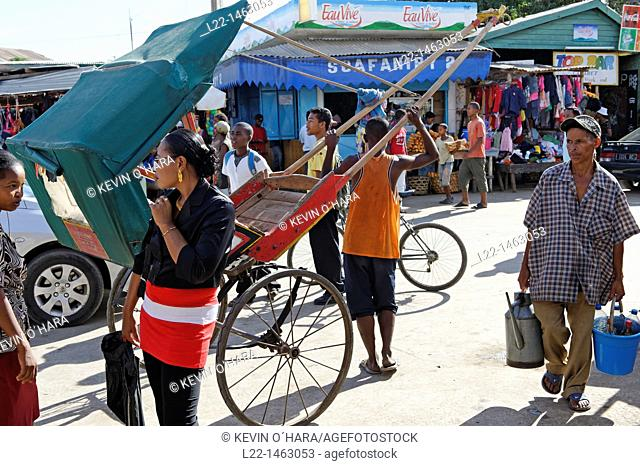 Rickshaw. The market. Toliara also known as Tuléar is the capital of the Atsimo-Andrefana region. Madagascar. Indian Ocean