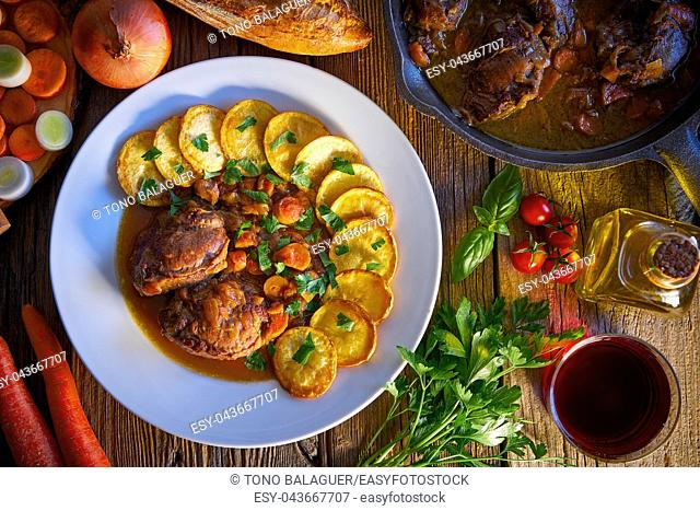 pig cheek recipe on wooden table board