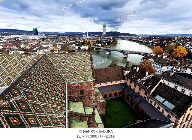 Roof of Basel Minster and Rhine River