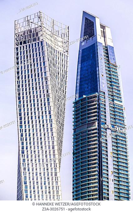The Cayan Tower and the Damac Heights Tower at Dubai Marina, Dubai, UAE