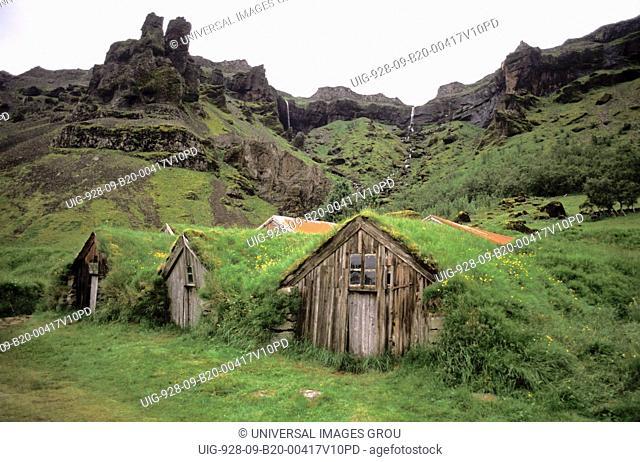 Iceland, Lomagnupur Mountains. Nupsstadur Farm. Grass-Covered Houses