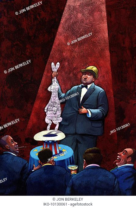 Construction industry pulling rabbit out of the hat solution for corporate businessmen