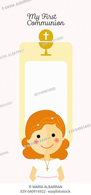 Girl communion with message and dots background