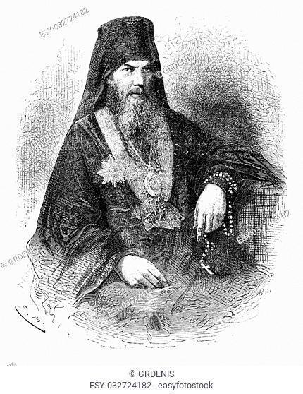 Leonidas, Patriarch of Moscow, vintage engraved illustration. Le Tour du Monde, Travel Journal, (1872)