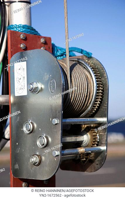 Hand cranked winch with steel cable  Location Oulunsalo,Finland,Scandinavia,Europe
