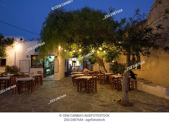Restaurant at town center Chora by night, Folegandros, Greek Islands, Cyclades Islands, Greece, Europe
