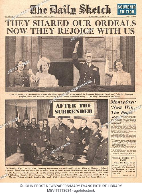 1945 Daily Sketch front page reporting End of War in Europe as Nazi Germany Surrenders and VE Day
