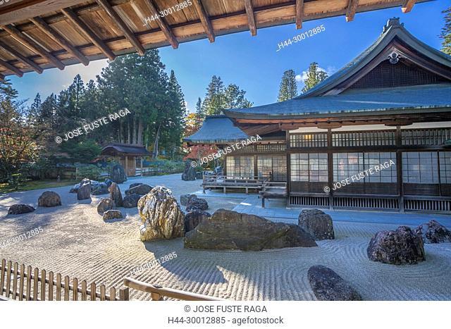 Japan, Koyasan City,Kongobuji Temple, Rocks Garden