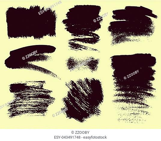 Vector set of hand drawn brush strokes and stains