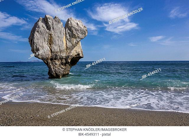 Rock in heart shape in the sea, Preveli Beach, Agios Vasilios, Rethymno, Crete, Greece