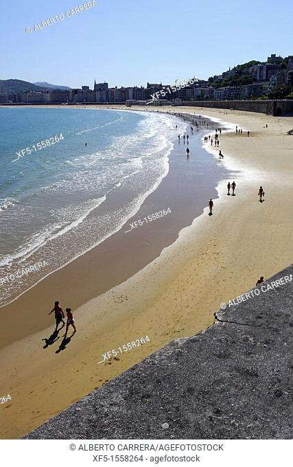 La Concha Beach, San Sebastián, Donostia, Guipuzcoa, Basque Country, Spain