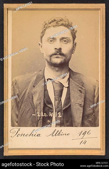 Ponchia. Charles, Albino. 32 ans, né le 1/3/62 à Montanaro (Italie). Menuisier. Anarchiste. 2/7/94. Artist: Alphonse Bertillon (French