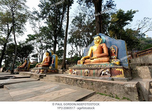 Sitting Buddhas at Swayambhunath (Monkey Temple) Buddhist Temple - Kathmandu, Kathmandu Valley, Bagmati Zone, Nepal