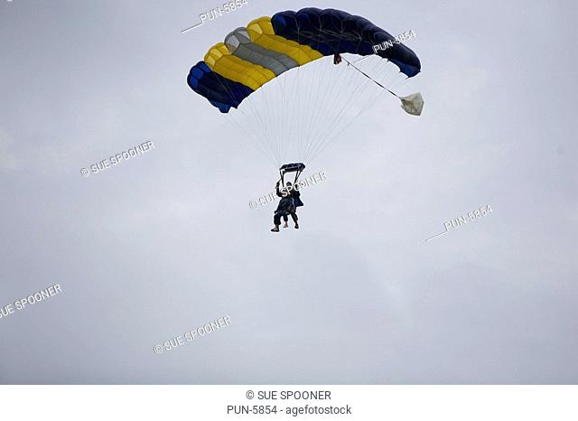 Two people in tandem parachute jump