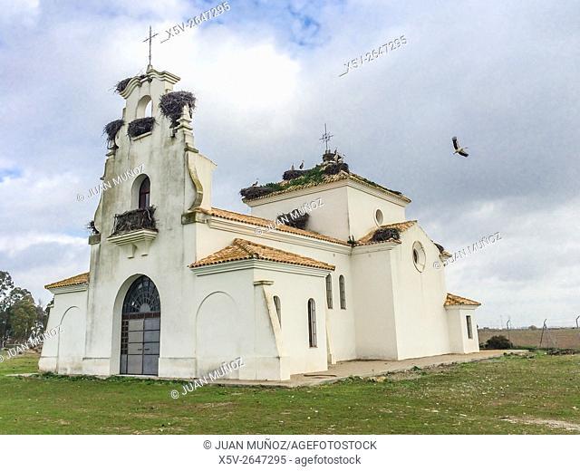 Rural chapel. Guadalquivir river banks. Highway practice. The Señuela. Seville