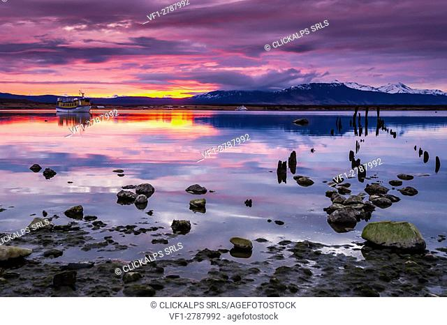 Puerto Natales, Patagonia, Chile, South America. Puerto Natales sunset
