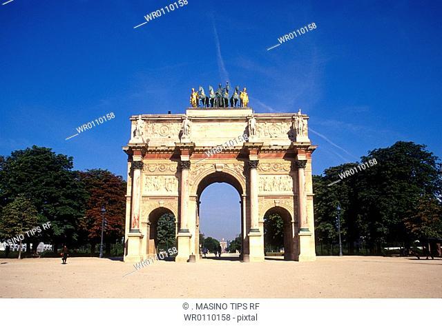 Paris, France, Arc de Triomphe du Carrousel at Jardin des Tuileries sculpture garden