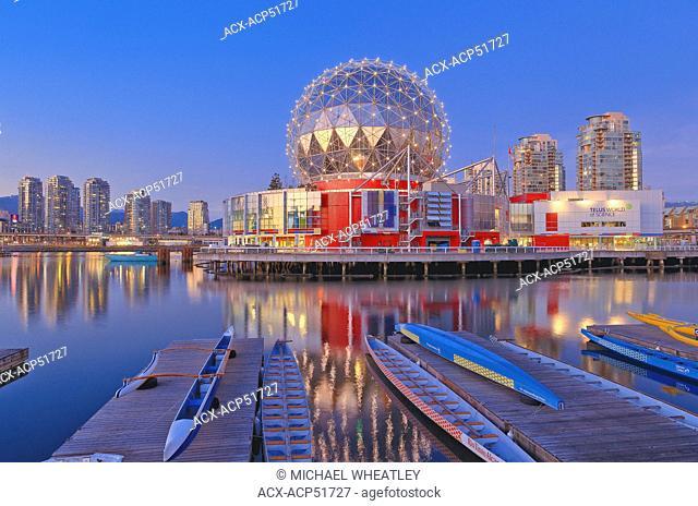 Telus World of Science and dragon boats, False Creek, Vancouver British Columbia, Canada