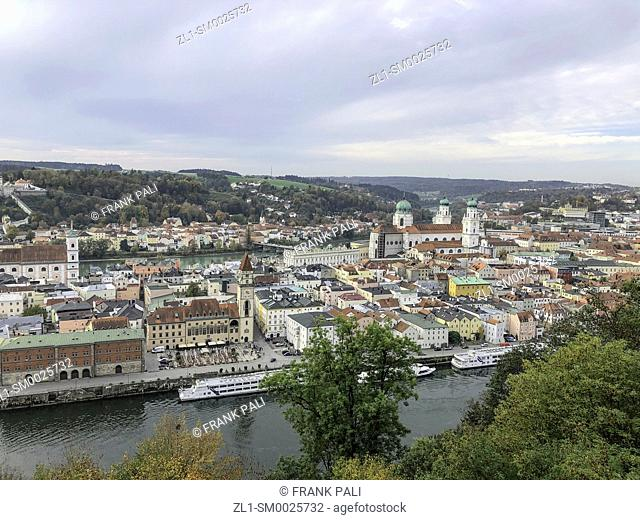 View from Veste Oberhaus is a fortress that was founded in 1219 and, for most of its time, served as the stronghold of the Bishop of Passau, Germany