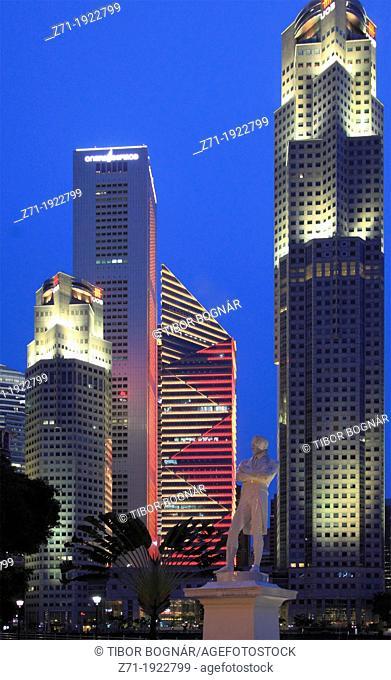 Singapore, Central Business District, skyline, Raffles statue