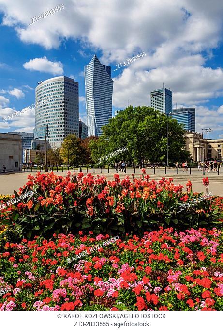 Poland, Masovian Voivodeship, Warsaw, City Center Skyscrapers