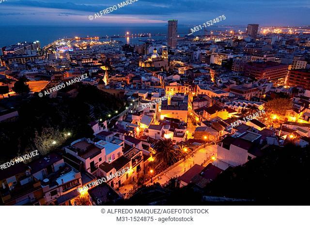 Night view of the city of Alicante from Santa Barbara Castle  Alicante province, Valencian Community, Spain, Europe