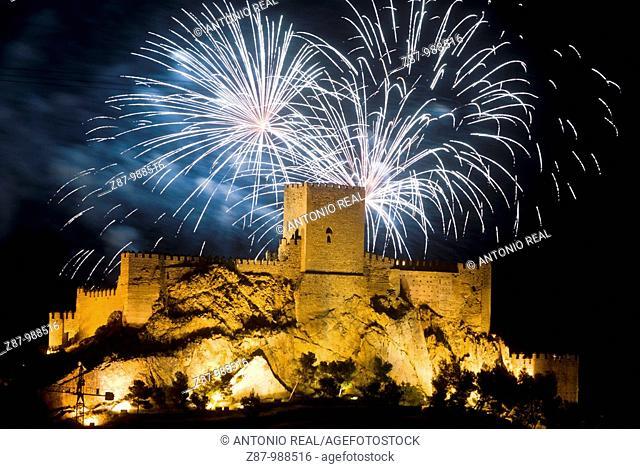 Castle and fireworks, Almansa. Albacete province, Castilla-La Mancha, Spain