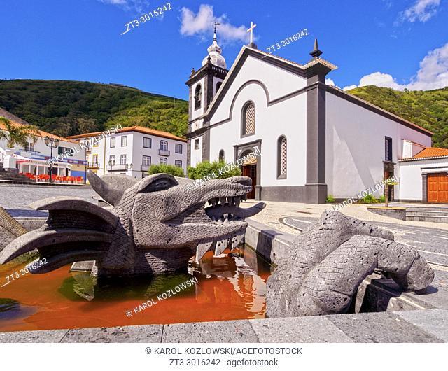 Dragon Sculpture and Mother Church, Velas, Sao Jorge Island, Azores, Portugal