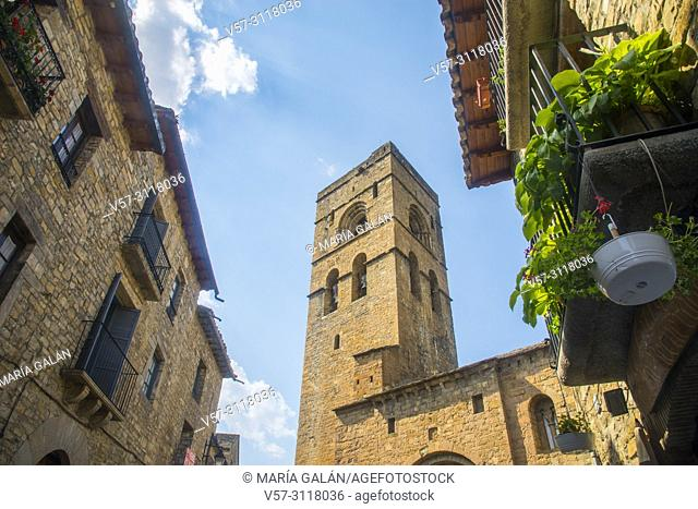 Bell tower of the Romanesque church. Ainsa, Huesca province, Aragon, Spain