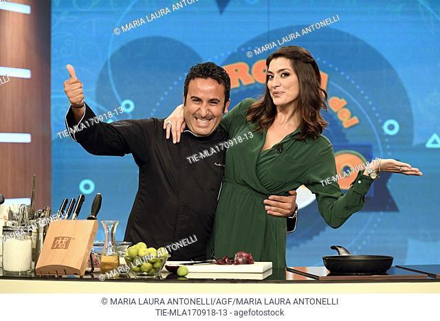 Chef Natale Giunta, tv host Elisa Isoardi during the tv show La prova del cuoco, Rome, ITALY-17-09-2018