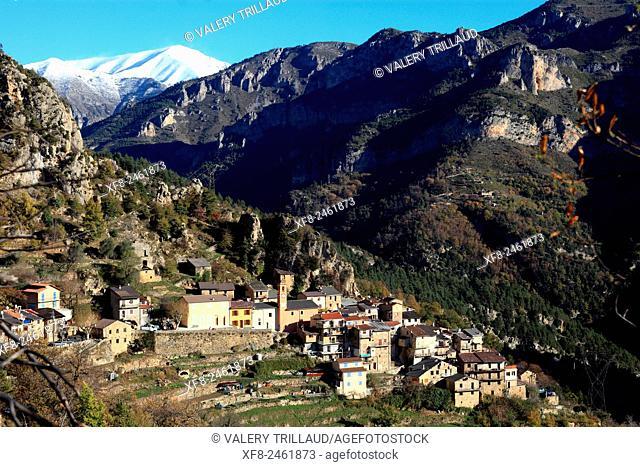 Village of Berghe superieur, Roya valley, Alpes-Maritimes, Mercantour national park, France