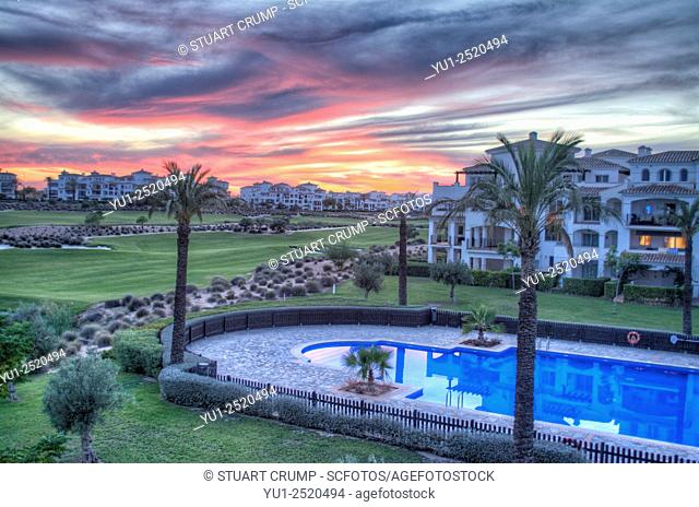 Sunset at Hacienda Riquelme Golf Resort, Murcia, Spain