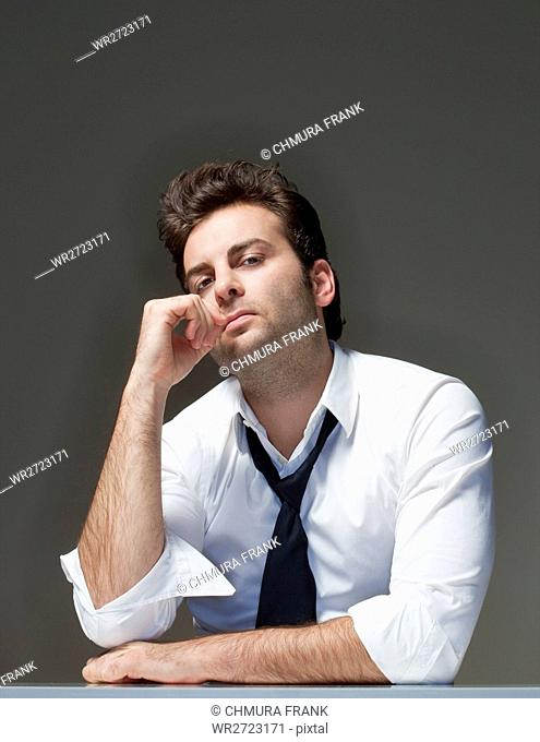 adult, alone, background, business, businessman, Caucasian, color, concern, executive, expression, frustrated, guy, hand, handsome, human, isolated, lifestyle