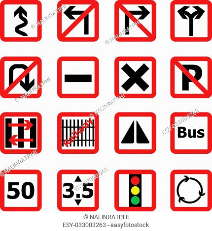 Traffic sign icons in square shape, stock vector