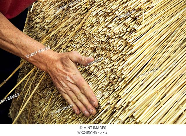 Close up of a man thatching a roof, layering the straw