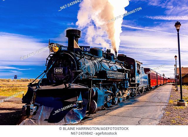 Steam locomotive. Cumbres & Toltec Scenic Railroad train at the station at Antonito. The train does a 64 mile run between Antonito, Colorado and Chama
