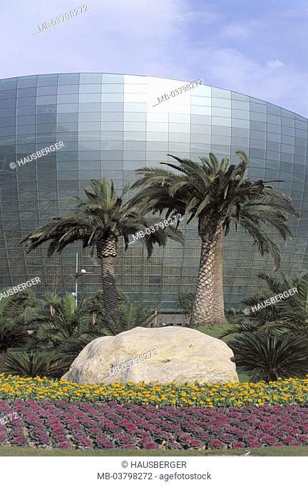 China, Shanghai, Oriental Art Center, Park, detail,  Asia, Eastern Asia, park, flower beds, palms, buildings, construction, culture center