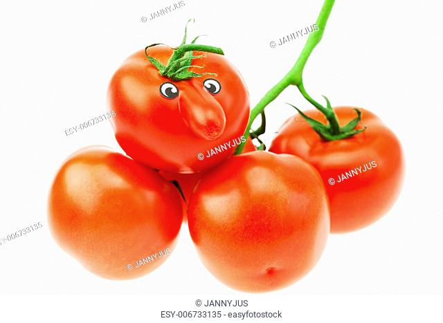 bunch of tomatoes isolated on white
