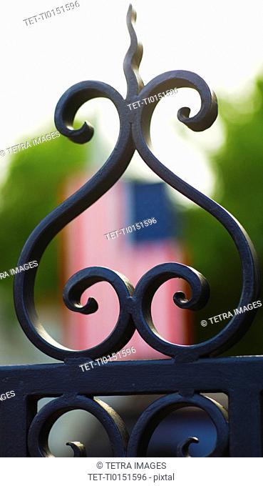USA, South Carolina, Charleston, Close up of ornate detail of iron gate