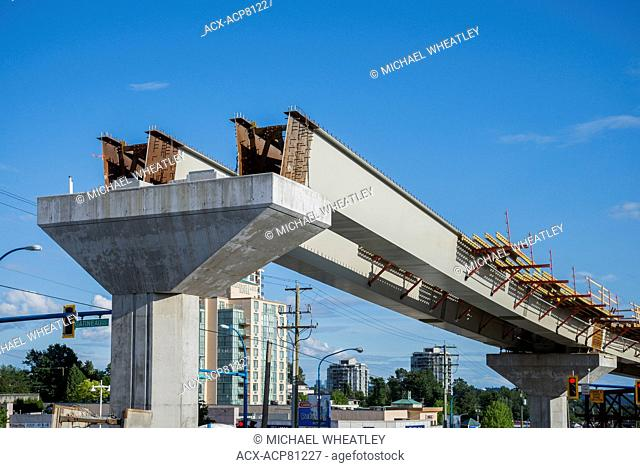 Construction of the new Evergreen, Skytrain line, Burnaby, British Columbia, Canada