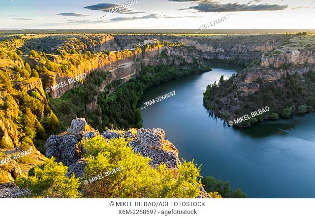 River and gorge near San Frutos hermitage. Hoces del Rio Duraton Natural Park. Segovia, Castile and Leon, Spain, Europe