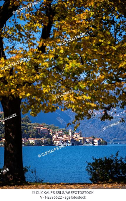 Carzano village in Iseo lake, Brescia province, Italy, Lombardy district, Europe