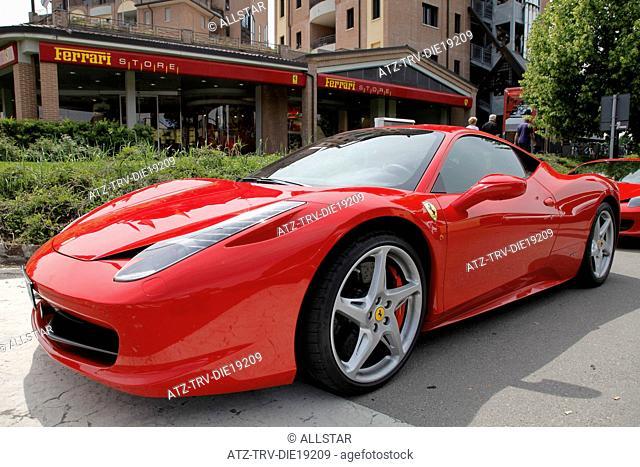 RED FERRARI 458 CAR & STORE; MARANELLO, ITALY; 08/05/2012