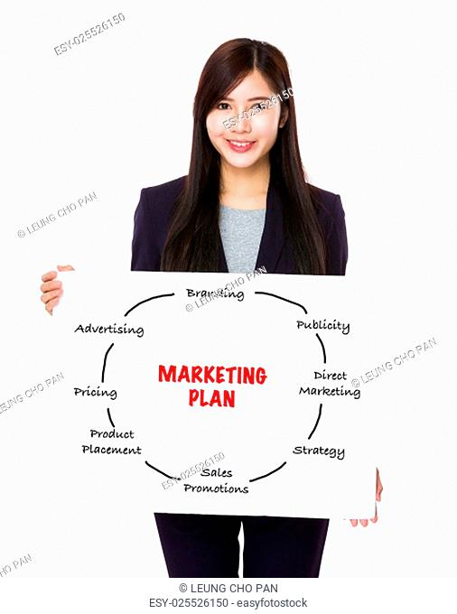 Asian businesswoman holding a poster showing marketing plan concept