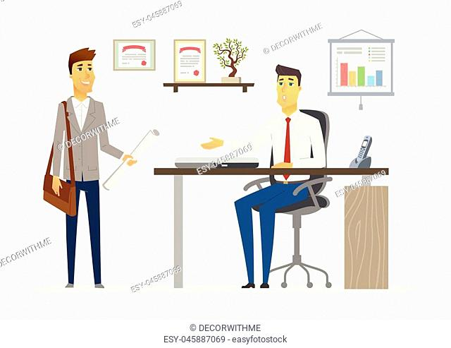 Office Day - vector illustration of a business situation. Cartoon people characters of young male colleagues, men at work